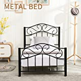 Mecor Twin Size Curved Metal Bed Frame/Mattress Foundation/Platform Bed for Kids with Steel Headboard Footboard,Black,Twin