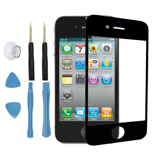 LCD Front Screen Outer Glass Lens Replacement Part for Iphone 4 4g Black + Tools (Gsm Iphone 4 Screen Replacement)