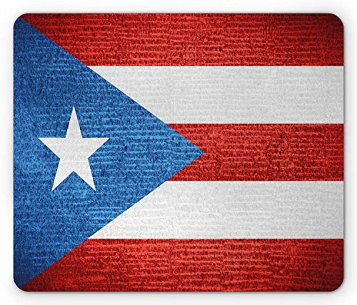 Puerto Rico Mouse Pad, Stripe Style Rows Pattern Grunge Arrangement with Patriot Flag, Standard Size Rectangle Non-Slip Rubber Mousepad, Blue Vermilion and White