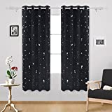 Deconovo Silver Dots Printd Blackout Curtains with Grommet Top Room Darkening Curtains for Living Room 52 W x 84 L Black 1 Pair Review
