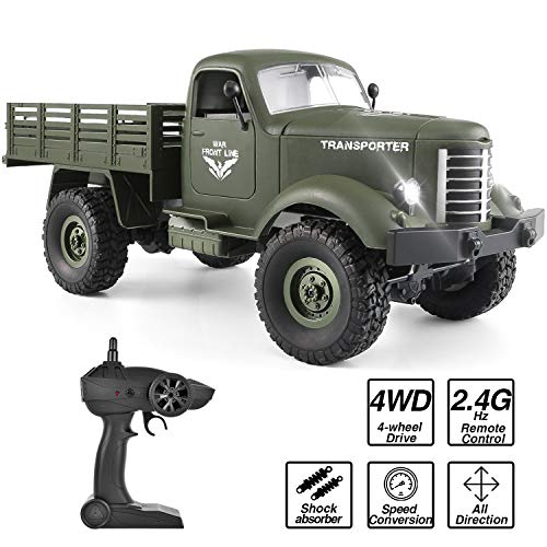 - ROOYA BABY Remote Control Truck, Off Road 4x4 RC Army Truck Rechargeable Transporter, 2.4 Ghz Radio Control 1/16 Military Vehicle Toy for Children Boys Teens