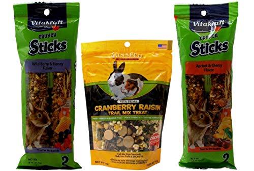 Vitakraft Sunseed Rabbit Treats 3 Flavor Variety Bundle (1) Each: Wild Berry Honey Sticks, Cranberry Raisin Trail Mix, Apricot Cherry Sticks (3.5-5) Ounces