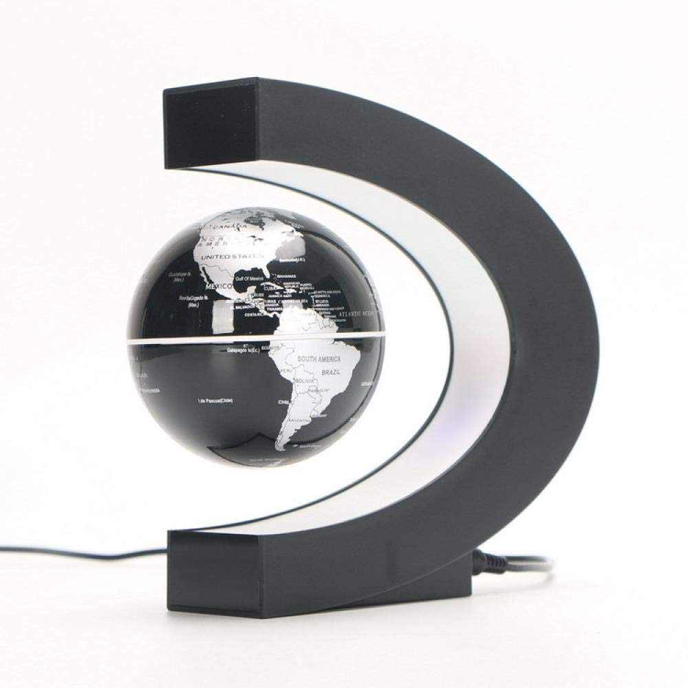 fanhangxuan Creative Furniture Ornaments Magnetic Suspension Globe C-Type English Craft high-end Gifts New Exotic Toys, Black