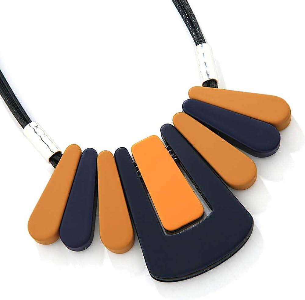 Rue B Bold Fashion Jewellery: Collar de cordón Negro de 20 Pulgadas con Colgantes Redondos de Color Azul Marino y Mostaza (YK149) B