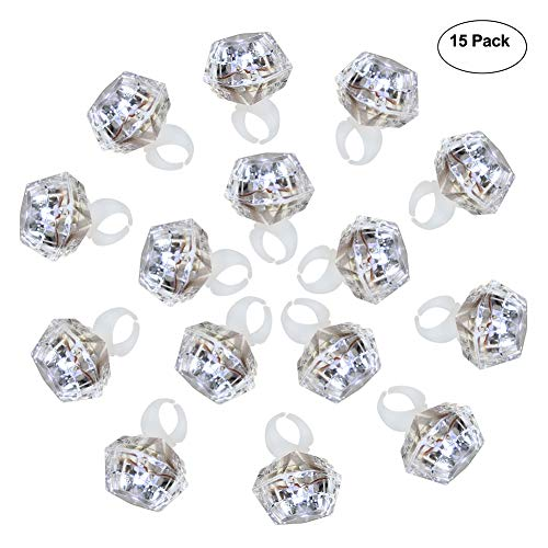 Glowing Engagement Ring (Accmor 15 Packs Party Light Up Rings Engagement Diamond Rings, Perfect for Bachelorette Kids Adults(Cold White)