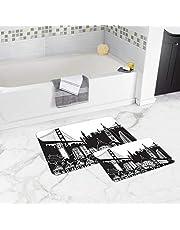 Bonamaison NonSlip Bathmat, 1 Piece 50x80cm + 1 Piece 50x45cm -Designed and Manufactured in Turkey
