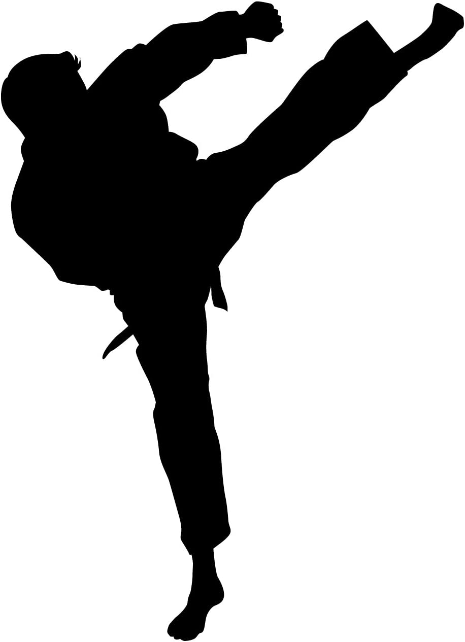 Martial Arts Wall Decal Sticker 38 - Decal Stickers and Mural for Kids Boys Girls Room and Bedroom. Karate Sport Wall Art for Home Decor and Decoration - Martial Art Kung Fu Taekwondo Silhouette Mural