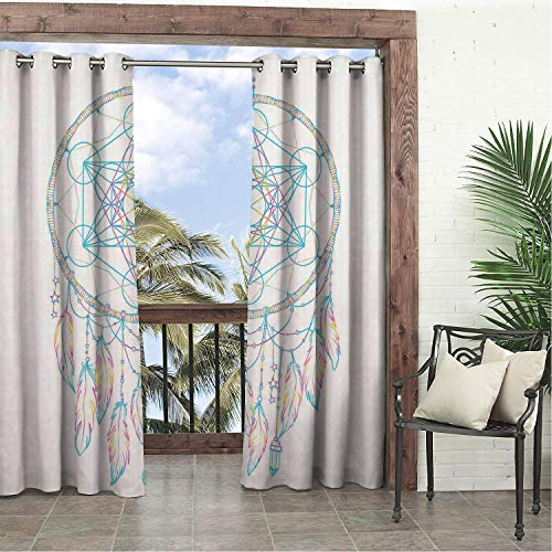 Linhomedecor Garden Waterproof Curtains Vaporwave Native American Dream Catcher Metatrons Cube Flower of Life and Feathers Multicolor doorways Grommet Bathroom Curtain 84 by 96 inch