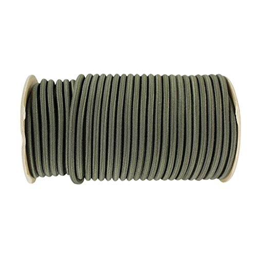 Shock Cord 1/4 inch - SGT KNOTS - Marine Grade Dacron Polyester Bungee - 100% Stretch - Moisture, UV, Weather Resistant - DIY Projects, Tie Downs, Commercial, Indoor, Outdoor (10 feet - OD Green) by SGT KNOTS (Image #1)