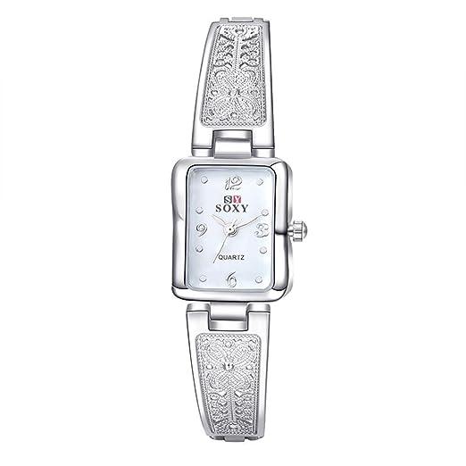 Relojes Pulsera Rectangular Escala Rhinestone Cuarzo Relojes Mujer Pulsera de Acero Inoxidable Tallada Lujo, Plateado-Blanco: Amazon.es: Relojes
