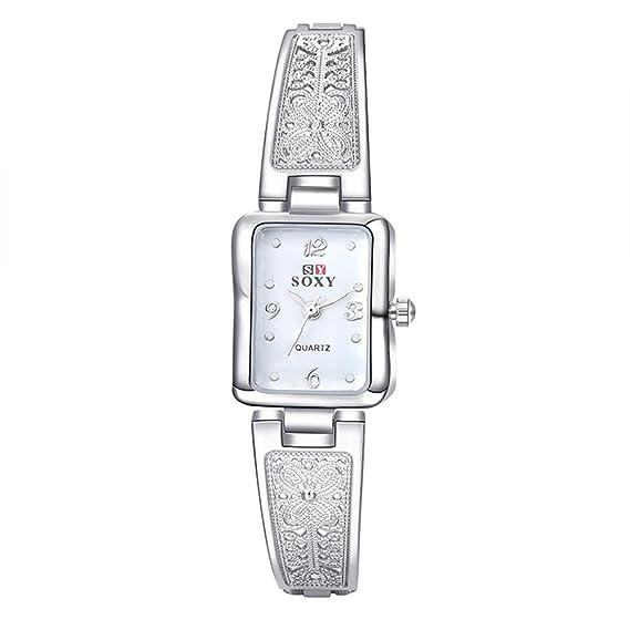 Relojes Pulsera Rectangular Escala Rhinestone Cuarzo Relojes Mujer Pulsera de Acero Inoxidable Tallada