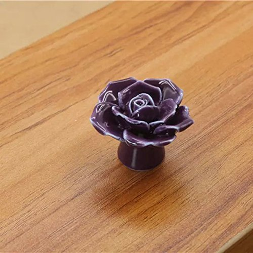 CSKB Purple 10 PCS 40mm Vintage Style Rose Ceramic Door Knob Cabinet Cupboard Knobs Round follow pattern Pull Handle Drawer Kitchen Furniture Dresser bedrooms Wardrobe Home Hardware
