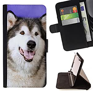 Husky Siberian Wolf Dog Canine - Painting Art Smile Face Style Design PU Leather Flip Stand Case Cover FOR Samsung Galaxy A3 @ The Smurfs