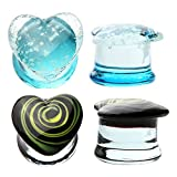 0G Saddle Glass Plugs Glow in the Dark Heart Kit (8mm) - 4 Pieces