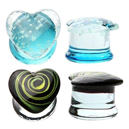 Glass Plugs 2 Gauge Glow in the Dark Heart Kit (6mm) 4 Pieces