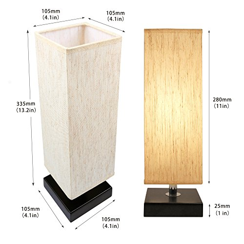 Bedside Table Lamp, Aooshine Minimalist Solid Wood Table Lamp Bedside Desk Lamp With Square Flaxen Fabric Shade for Bedroom, Dresser, Living Room, Kids Room, College Dorm, Coffee Table, Bookcase by Aooshine (Image #4)