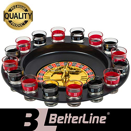 (BETTERLINE Shot Glass Roulette Drinking Game Set for with Spinning Wheel, 2 Balls and 16 Shot Glasses - Casino Adult Party Games)