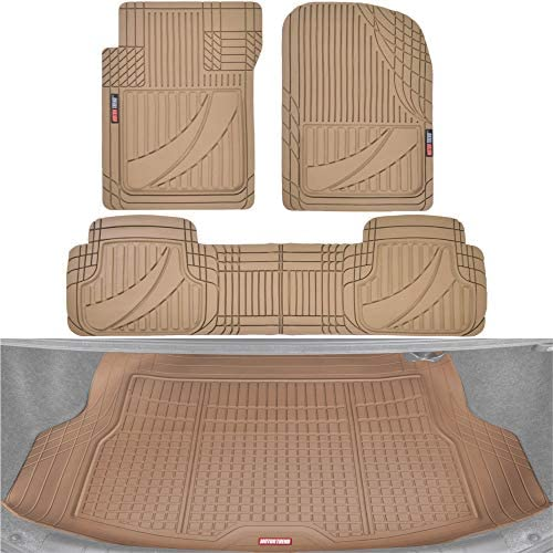 Motor Trend FlexTough Advanced Beige Rubber Car Floor Mats with Cargo Liner Full Set – Front & Rear Combo Trim to Fit Floor Mats for Cars Truck Van SUV, All Weather Automotive Floor Liners