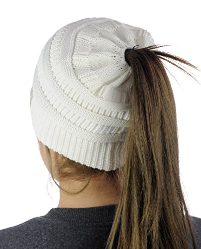 C.C BeanieTail Cotton Blend All Season Daily Messy High Bun Ponytail Beanie Hat, Ivory