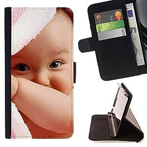 Momo Phone Case / Flip Funda de Cuero Case Cover - Bebé lindo - Samsung ALPHA G850