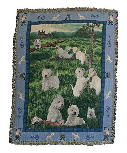 Gone Doggin West Highland Terrier Blanket Throw #1 - Exclusive Westie Dog Art in Tapestry for Dog Lovers
