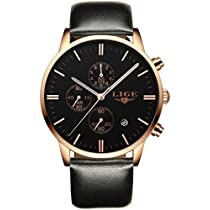 Mens Wrist Watches Fashion Gold Watch Chronograph Date Display Analog with Black Leather Strap