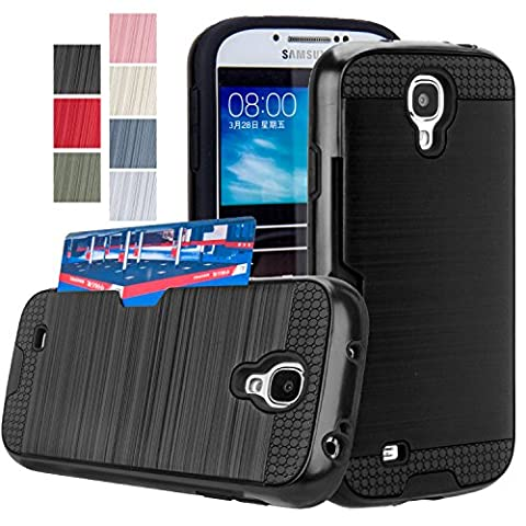 Galaxy S4 Case, AnoKe [Credit Card Slots Holder][Not Wallet] Hard Silicone Rubber Hybrid Armor Shockproof Protective Holster Cover Case For Samsung Galaxy S4 - KLS (Galaxy S4 Cases With Card Holder)