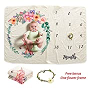 AmazingM Unicorn Monthly Baby Milestone Blanket,1-12 Months Personalized Photo Background Prop,Baby Shower Gifts for Boy or Girl(with a Bonus Floral Wreath),40''X 60'',Thick and Soft