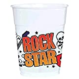 Rock On Heavy Metal Themed Party Rock Star Plastic Cups Tableware, 14oz , Pack of 40