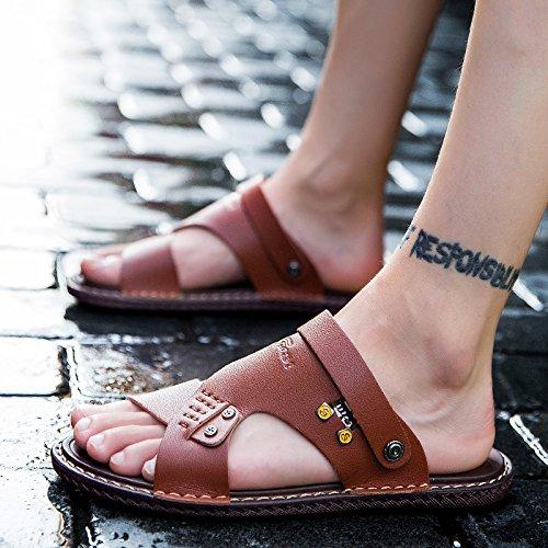 Xing Lin Sandali Di Cuoio Gli Uomini Di Sandali Estivi 45 Trend Con Due Uomini E Le Scarpe Da Spiaggia 46 Cool Trascinare E 48 Yards Casual Sandali Di Cuoio 47 Scarpe Marea ,47,6602Un Rosso Marrone