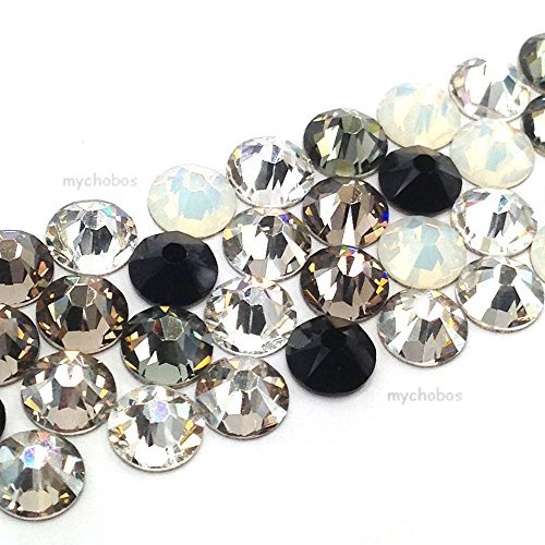- 144 pcs (1 gross) Swarovski 2058 Xilion / 2088 Xirius Rose crystal flat backs No-Hotfix rhinestones nail art BLACK & WHITE Colors Mix ss9 (2.6mm) **FREE Shipping from Mychobos (Crystal-Wholesale)**