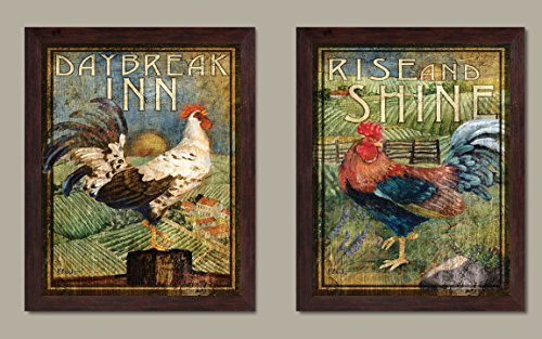 WallsThatSpeak 2 Retro Rooster Rustic Art Prints Country Kitchen Decor, 8 by 10-Inch, Green; Two Ready to Hang Framed Pieces