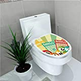 Toilet Seat Sticker Bingo Game Ball Cards Pop Art Stylized Lottery Hobby Celebration Theme W12 x L14
