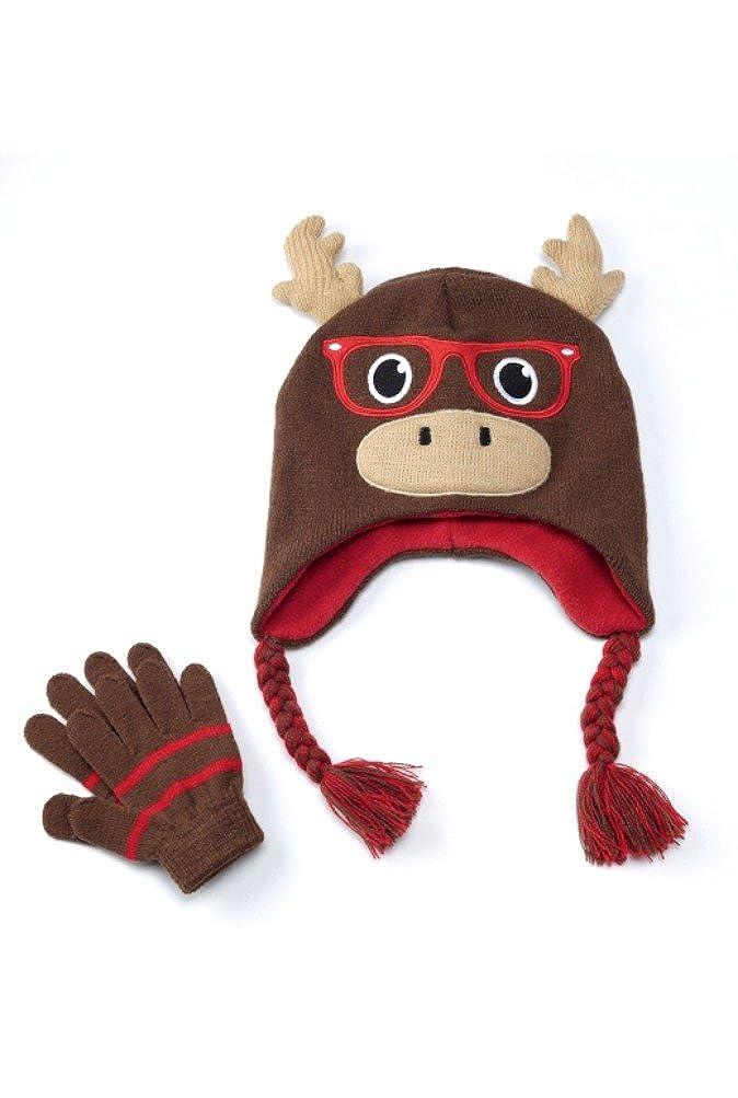 Boys Moose hat and gloves set 4-7yrs