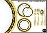 Royalty Settings Royal Collection Hard Plastic Plates for Weddings for 120 Persons, Includes 120 Dinner Plates, 120 Salad Plates, 240 Forks, 120 Spoons, 120 Knives, Black and Gold Rim