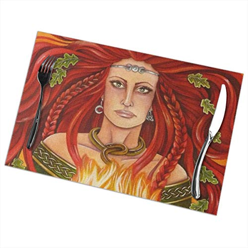 (Imbolc Brigid Flame Goddess Celtic Blessing 6 Piece Set Of Placemats Pc Party Kitchen Dining Room Home Table Place Mat Patio Holidays Decorations Decor Ornament Themed Print Pattern Kid)