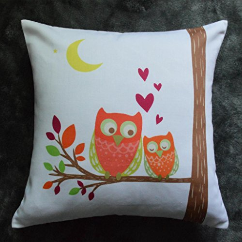 Howarmer Square Soft Polyester Cotton Decorative Throw Pillows Decorative Pillows Owl Pillow Covers Only Owl Lovers Throw Pillows Love Red Heart
