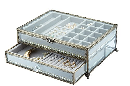 PuTwo Jewelry Boxes 22 Sections Metal Glass Jewelry Organizer Velvet Jewelry Tray Jewelry Box with Free Decorative Pearls