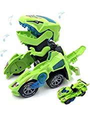Hastarange Dinosaur Cars Transforming Toys,Transforming Dinosaur LED Car with Light Sound Kids Toy, Automatic Transformation,3-8 Year Old Boys Girls Toddlers Kids Gift (Green)