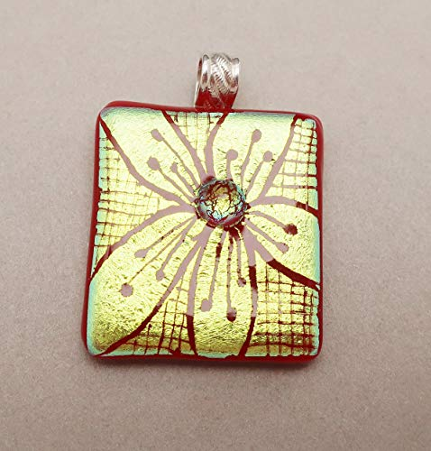 Large red gold flower hand engraved fused dichroic glass pendant .925 sterling silver bail