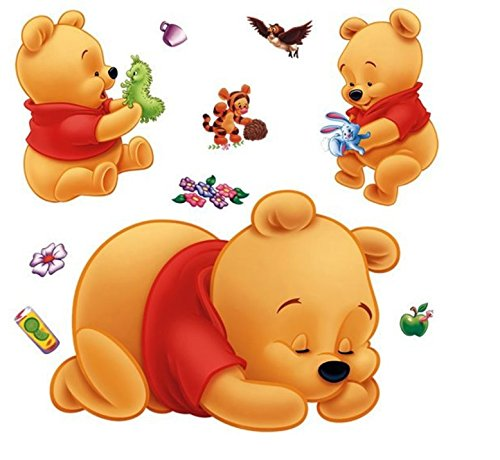 Wall Sticker Decal Sleeping Winnie the Pooh for Kids Bedroom Nursery Daycare and Kindergarten Mural Home Decor DIY Self adhesive Removable - Pooh Wall