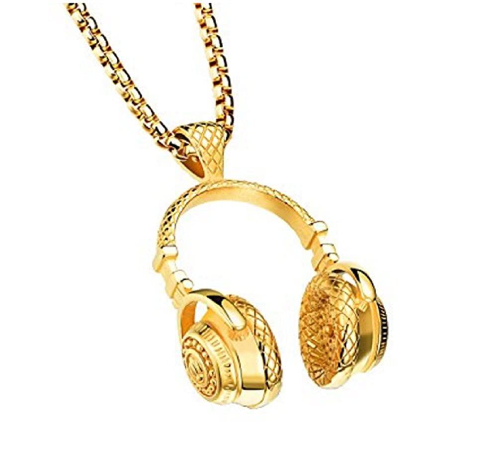 Dmeiling Stainless Steel Hip Hop Wireless DJ Music Earphone Headphone Pendant Necklace for Men and women