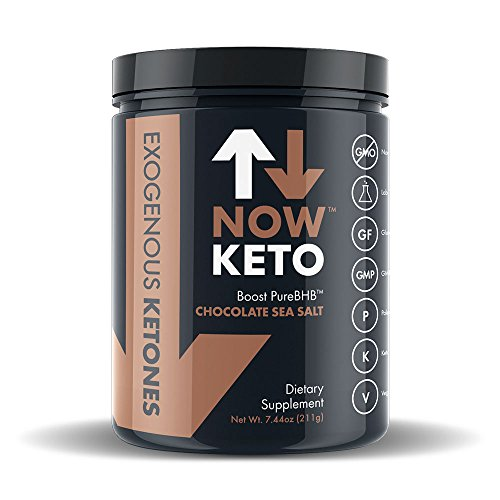 NowKeto KetoBOOST TM Exogenous Ketone Supplement Stimulates Ketosis, Burns Fat, and Boosts Energy with PureBHB TM (Beta Hydroxybutrate Salts). All-Natural Ingredients. Delicious Chocolate Sea Salt by NowKeto