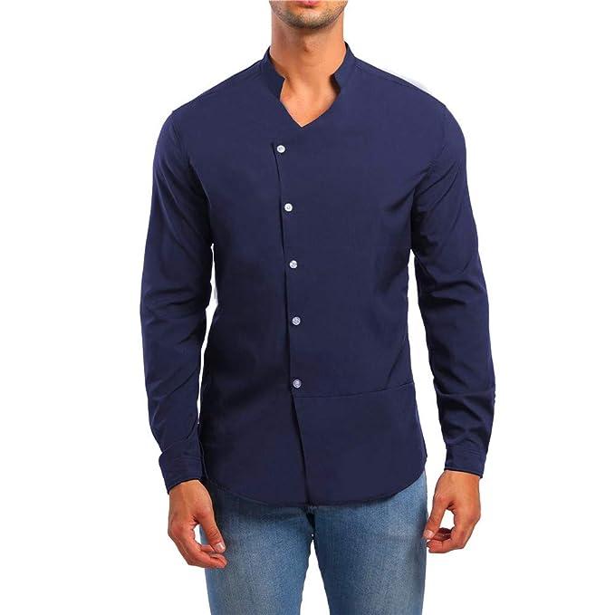 40c52671d Yvelands Camisas y Camisetas activas, Camisas para Hombres Grandes y Altas  Manga Larga Casual con