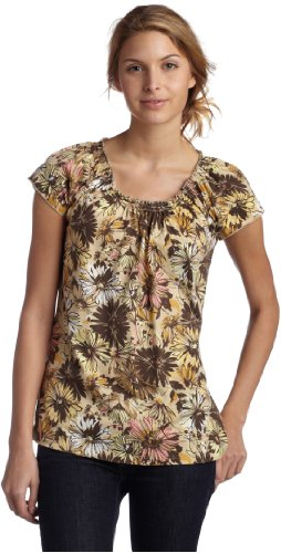 IZOD Women's Multi Floral Smocked Tee Shirt,Flaxen,X-Large