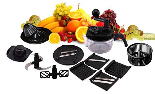 SHINKODA Manual Food Processor, All In One Chopper, Mixer, Blender, Whipper, Slicer, Shredder, Grinder and Citrus Juicer - Salad Maker & Mandoline Set With 5 Interchangeable Blades,4 Cup - Black