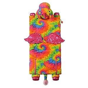 Kids Plush Animal Slumber/Sleeping Bag with Super-Soft Cozy Faux Fur (Tie Die Unicorn)
