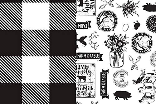 Black & White Buffalo Plaid and Farmhouse Scenes Rustic Gift Wrap Tissue Paper for All Occasions. 24-Pack Includes 12 Sheets of Each Pattern. Large 20 x 30 Squares. Black, White