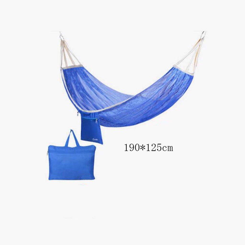 Hängematte Outdoor Hängematte Camping Camping Schaukel Hängematte Bergsteigen Hängematte blau Mesh Polyester Hängematte portable Hängematte (Aufbewahrungsbeutel  1), (190  125cm)