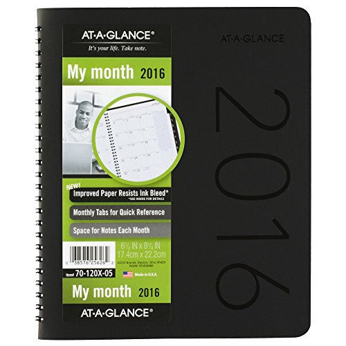 AT-A-GLANCE Monthly Planner 2016, 6.88 x 8.75 Inches, Contemporary, Black Cover Design (70-120X-05 )